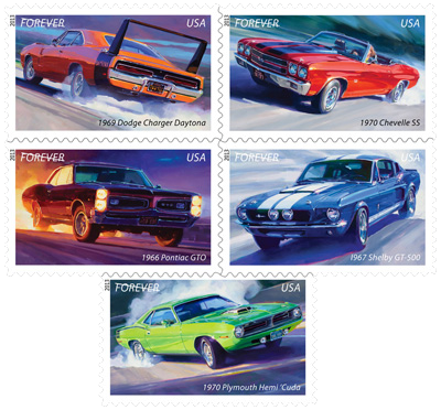 Artist Tom Fritz Muscle Car Stamps Prints
